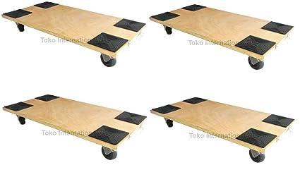 4 x transporte Roller 150 kg 590 x 290 mm resistencia PA de patinetes Muebles para ayuda al transporte Mudanza Carrito para muebles de caja ...