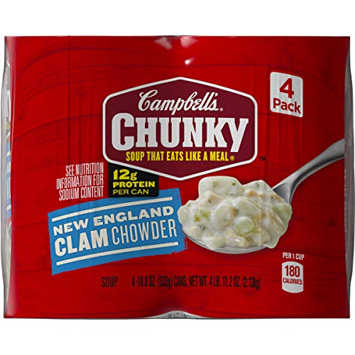 Campbell's Chunky New England Clam Chowder, 18.6 oz. Can, 4 Count (Pack of 2) (The Best New England Clam Chowder)