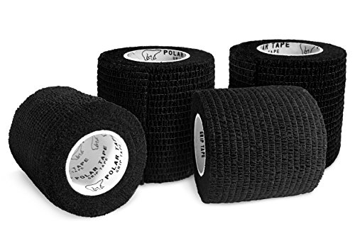 Black Grip Tape - Polar Tape Grip Tape - Perfect for Baseball, Hockey, Lacrosse, Hunting, Fishing, and more - 2 inches x 15 feet Self Adherent Non-Woven Cohesive Grip Tape by (Black, 4 Rolls)