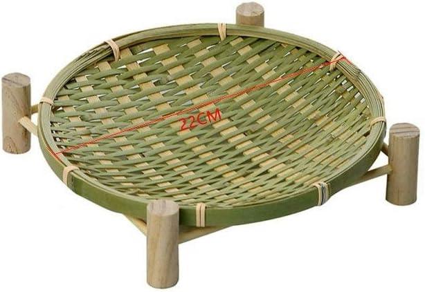 Handmade Woven Bamboo Fruit Basket Wicker Straw Food Organizer Kitchen Storage (22CM)