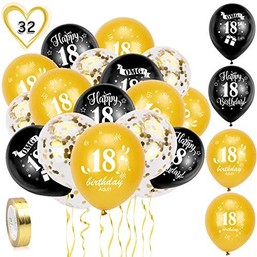 HOWAF Globos de cumpleanos, 30 Piezas 18 anos cumpleanos Globos de Latex, Negro Oro Globos de Confeti y 2 Cintas para Chico y Chica Fiestas de 18 cumpleanos decoracion Suministros