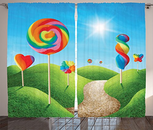 "Ambesonne Fantasy Curtains, Fantasy Candy Land with Delicious Lollipops and Sweets Sun Cheerful Fun Print, Living Room Bedroom Window Drapes 2 Panel Set, 108"" X 84"", Rainbow Colors"