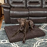 Furhaven Pet Dog Bed | Deluxe Orthopedic Mat Ultra Plush Faux Fur Traditional Foam Mattress Pet Bed w/ Removable Cover for Dogs & Cats, Chocolate, Large