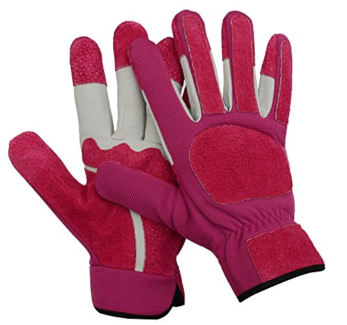 Heavy Duty Pink Leather Work Gloves