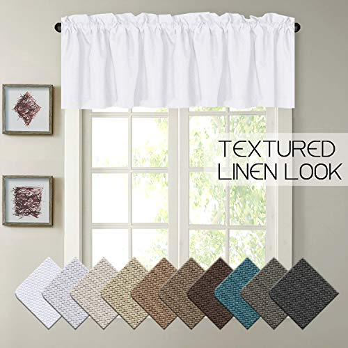 H.VERSAILTEX Pure White Elegant Rich Linen Window Curtain Home Fashion Easy Care Valance for Small Window, 52 by 18 -Inch, Rod Pocket, 1 Panel ()
