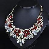 style13 red - Women Fashion Pendant Crystal Flower Choker Chunky Statement Chain Bib Necklace