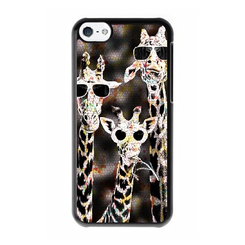 Coque,Coque iphone 5C Case Coque, Giraffe With Sunglasses Cover For Coque iphone 5C Cell Phone Case Cover Noir