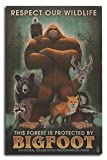 Lantern Press Respect Our Wildlife - Bigfoot (10x15 Wood Wall Sign, Wall Decor Ready to Hang)