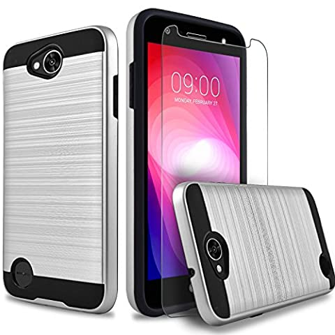 LG X Power 2 Case, LG Fiesta LTE Case, LG X Charge Case, Dual Layers Hybrid Shockproof Case With [Premium Screen Protector Included] + Circlemalls Stylus Touch Pen (Phone Case Charges)