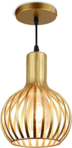 DLLT Brass Pendant Ceiling Lights Fixtures, Classic Pendant Lamp, E26 Industrial Metal Hanging Pendant Led Lighting for Kitchen, Bedroom, Dining Room, Hallway, Loft, Restaurant, Bar, Entryway