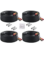 4K 100ft 30M All-in One BNC Video Power Cables, BNC Extension Surveillance Camera Wire for CCTV Camera DVR Security System, with BNC Connectors and RCA Adapters (Black, 4 Pack)
