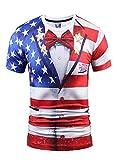 Wehug Mens American Flag Tshirt 3d Pattern Printed Short Sleeve T-Shirts Top Tees Red XL