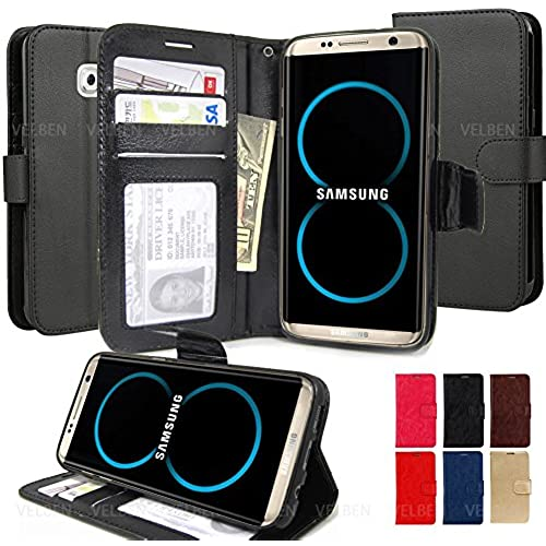 For Galaxy S8 edge Case , Slim wallet flip Card pocket protective cover Stand Magnetic clasp(Baby blue) Sales