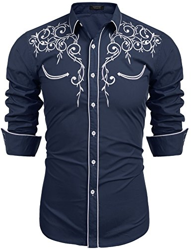(COOFANDY Men's Long Sleeve Shirt Embroidery Slim Fit Casual Button Down Shirt, 01-blue, X-Large)