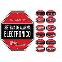 VAS #10512SPD SPANISH SECURITY DECALS - (12)  Burglar Alarm System Warning Decals