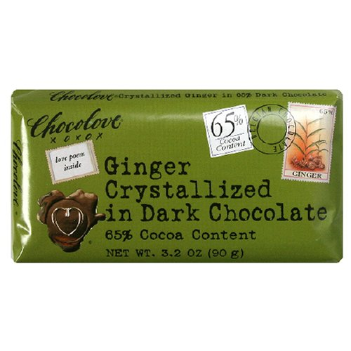 Chocolove Chocolate Bar, Ginger Crystallized in Dark Chocolate, 3.2 Ounce (Pack of (Australian Crystallized Ginger)