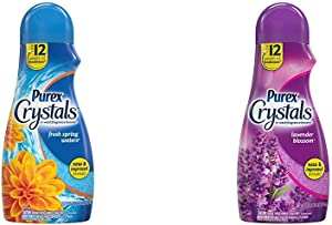 Purex Crystals in-Wash Fragrance and Scent Booster, Lavender Blossom, 39 Ounce and Purex Crystals in-Wash Fragrance and Scent Booster, Fresh Spring Waters, 39 Ounce
