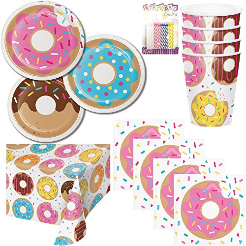 Donut Theme Party Supplies Pack Serves 16: Dessert Plates, Beverage Napkins, Cups, Table Cover, and Birthday Candles ()