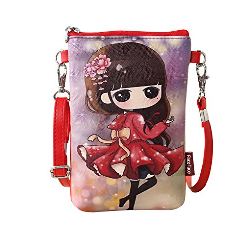 Cartoon Wallet Sling Bag Messenger Bag Money Clip Cell Phone Pouch Cash Card Holder Case (red)