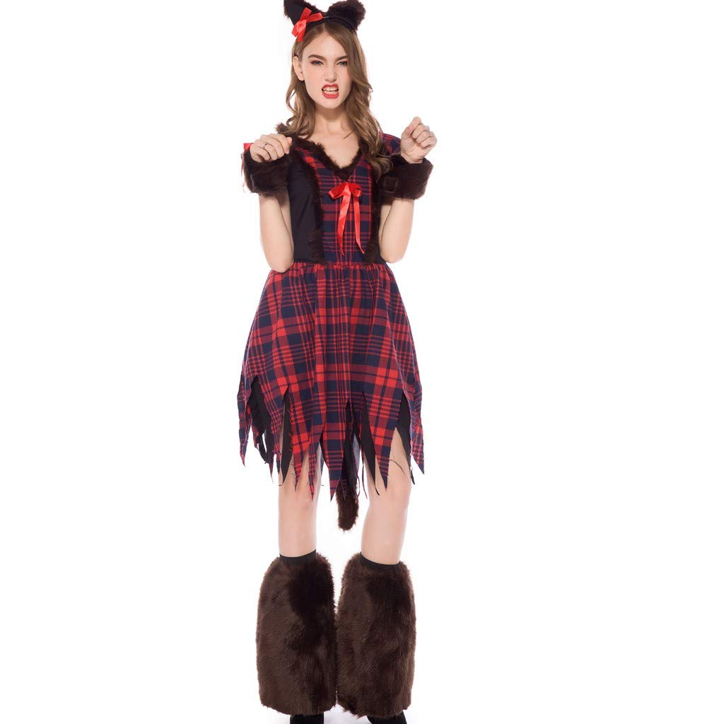 Cute Cat Costume for Women Plaid Short Sleeve Midi Dresses with Cat Ear Headband Sleeves and Fuzzy Leg Warmers Halloween Masquerade Cosplay Dress up Accessories by Armfer-household supply