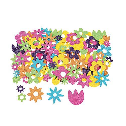 Fun Express - Glitter Flower Adhesive Foam Shapes - Craft Supplies - Foam Shapes - Regular - 500 Pieces