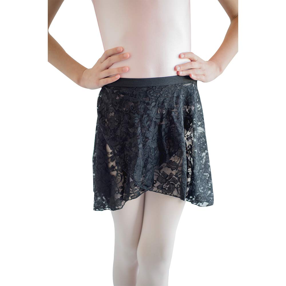 HDW DANCE Lace Dance Wrap Skirts for Kids Cotton Waistband (Black-C) by HDW DANCE