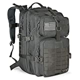 LeisonTac Tactical Backpack Military ISO Standard for Hunting Hiking Travel & Camping | Heavy Duty Nylon Stitching Water Resistant Small Rucksack with Hydration Bladder Compartment (Gray)