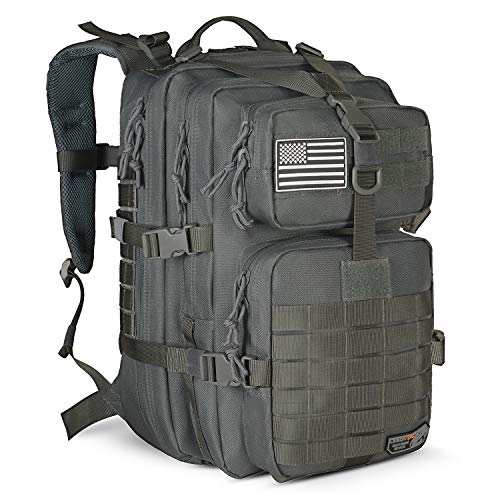 LeisonTac Tactical Backpack with Military ISO Standard for Army Hunting Hiking Travel Camping (Gray)