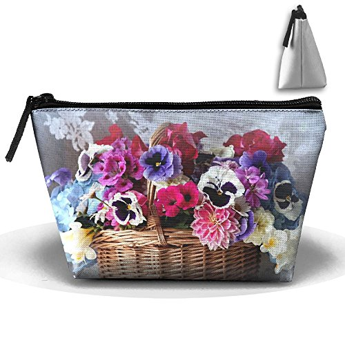 Portable Travel Storage Bags Basket Colorful Flowers All Printed Clutch Wallets Big Pouch Purse Zipper Holder For Kits Medicine And Makeup Bag