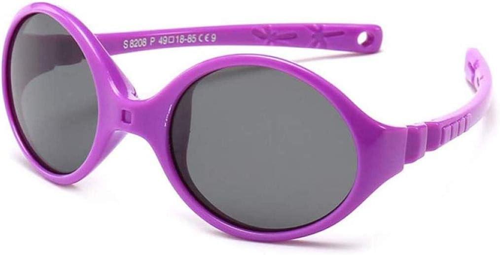 WJXIU Gafas De Sol De Los Niños, Tendencia De La Moda Niños Que Montan Las Lentes Polarizadas, Marcos De Silicona Púrpura Duraderos, Protección UV 100%, Gafas De Sol For Niños Y Niñas, Campos De Gafas