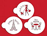 Designer Stencils C882 I Love Paris Cookie Stencil Set, Beige/Semi-Transparent