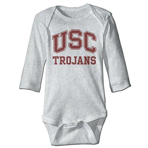 DETED USC Trojans Logo Funny Newborn Baby Romper Climb Clothes Size6 M Ash