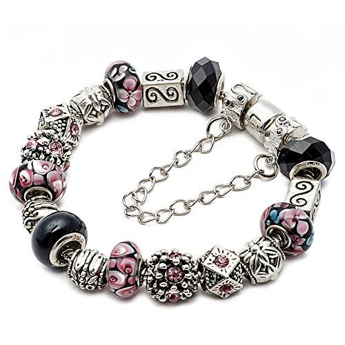 RUBYCA Silver Tone European Charm Bracelet 8.3