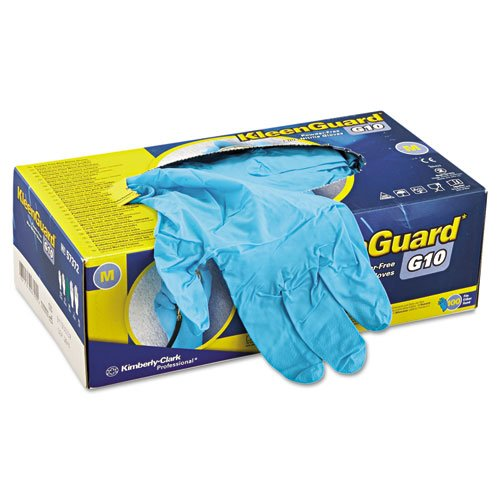 "Kimberly-Clark Apparel 57372 Kimberly-Clark Professional Medium Blue KleenGuard G10 6 mil Latex-Free Nitrile Powder-Free Disposable Gloves, Plastic, 1"" x 9.5"" x 5.5"""