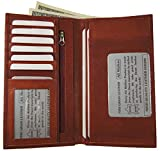 Genuine Leather Checkbook Cover Wallet Organizer with Credit Cards Holder New (BURGUNDY)