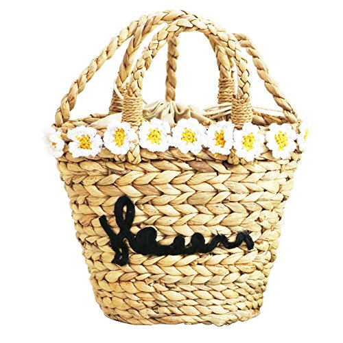 bolsa de niña para playa Bolsa Diseño playa nbsp;fancylande vacaciones regalo hierba Flor imitación nbsp;– retro viaje de Paja bolsa ideal Mujer mujer Verano de ratán redondo de vpfSqBTp5