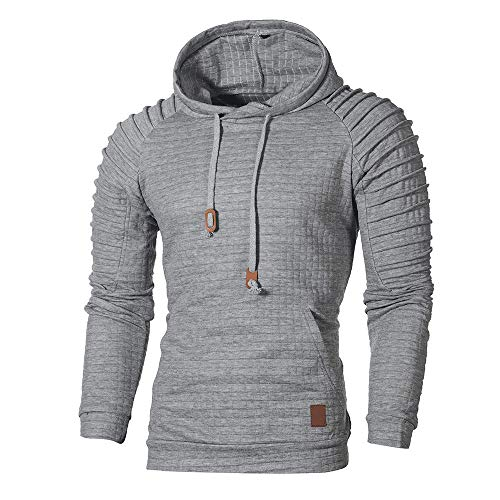 ◕‿◕ Toponly Long Sleeve Hoodies Men Plaid Hooded Sweatshirt Top Autumn ()