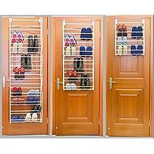 SortWise ® 36-Pair Over The Door Shoe Rack Hanger Shelf Storage Holder Organizer, White