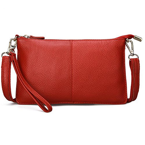 TOPSHINE leather Crossbody Bag for Women Fashion Small Wristlet Clutch Purse Phone Wallets (Red)