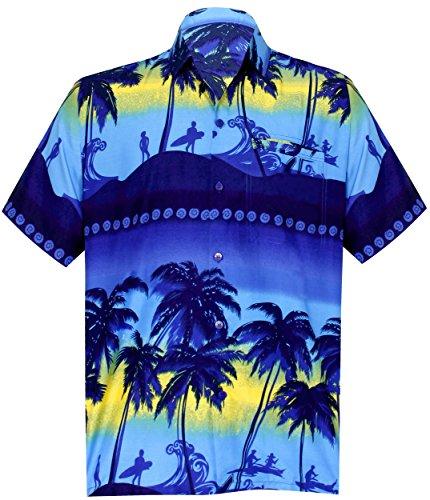 - LEELA Likre Aloha Dress Shirt Navy Blue 442 Large   Chest 44
