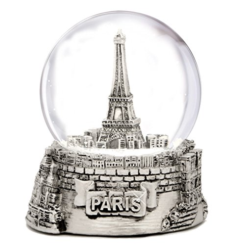 Silver Paris Snow Globe, Eiffel Tower Snow Globe Souvenir, Exclusive (3.5 Inches Tall) Paris Snow Globes Collection