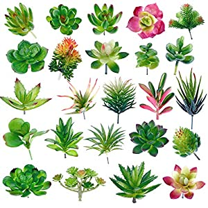 Augshy 24 Pack Artificial Succulent Plants Unpotted Mini Fake Succulents Plant for Lotus Landscape Decorative Garden Arrangement Decor 43