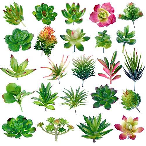 (Augshy 24 Pack Artificial Succulent Plants Unpotted Mini Fake Succulents Plant for Lotus Landscape Decorative Garden Arrangement Decor)