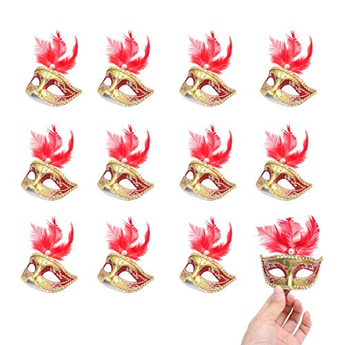 Hophen 24 Pieces Decorative Mini Masquerade Mask Party Decorations Luxury Feather Mardi Gras Venetian Mask Party Favors (Red)