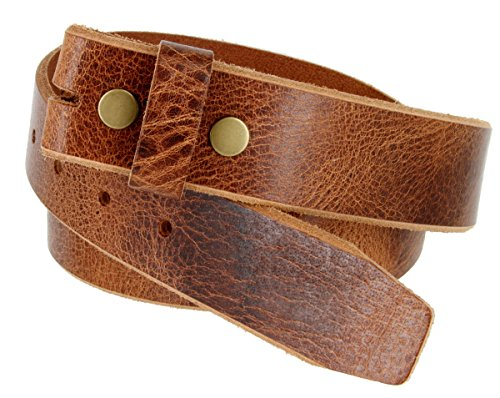 Genuine One Piece Full Grain Vintage Buffalo Leather Belt Strap (38, Tan)