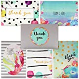 Bulk Thank You Cards - Greeting Cards for All Occasions - 6 Floral Watercolor Designs - Blank on the Inside - Includes 48 Cards and Envelopes, 4 x 6 inches