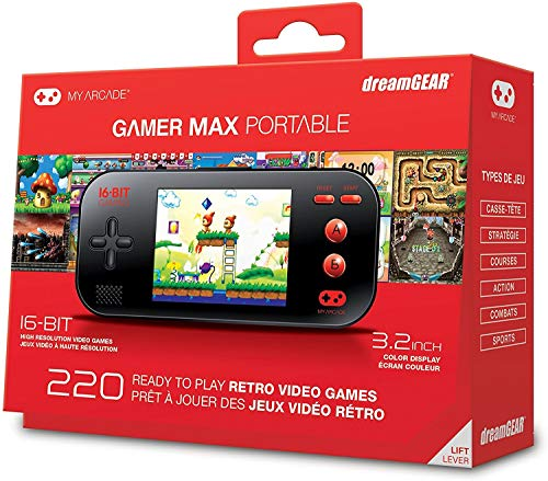 My Arcade - Gamer Max Portable Gaming System with 220 Built-in 16 bit Games, 3.2 LCD Screen + Headphone Jack