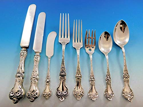 Majestic by Alvin Sterling Silver Flatware Set for 12 Dinner Service 98 Pieces