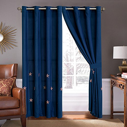 GrandLinen 4 Piece Navy Blue/Red/White Texas Lone Star Embroidery Western Microfiber Curtain Set 108 inch Wide X 84 inch Long (2 window panels, 2 ties)