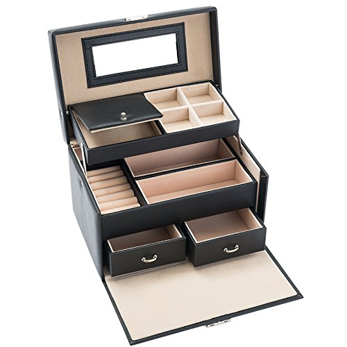 Black Jewelry Box Lockable Mir...